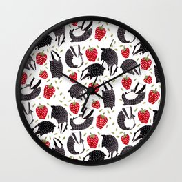Badgers and Strawberries Wall Clock