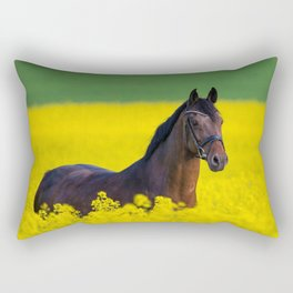 Mare in a field of rapeseed blossoms Rectangular Pillow