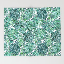 JUNGLE VIBES Green Tropical Monstera Leaves Throw Blanket
