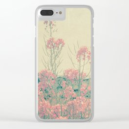 Vintage Spring Soft Pink Wildflowers Clear iPhone Case