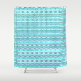 Aqua Blue and Gray Aztec Tribal Pattern Shower Curtain