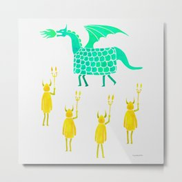 Correfoc dragon and devils * yellow & mint palette Metal Print