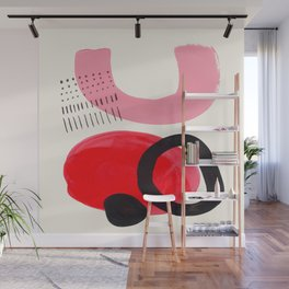 Vintage Abstract Mid Century Modern Playful Pink Red Candy Colors Organic Shapes Wall Mural
