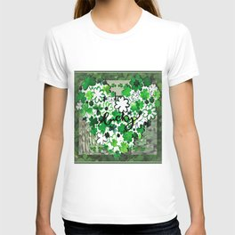 Bright Green Lucky Shamrock Heart T-shirt