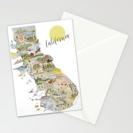 Watercolor Map of California - white bkgrd. Stationery Cards