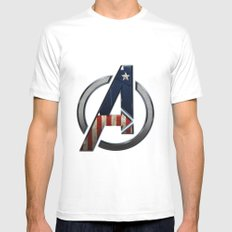 UNREAL PARTY 2012 THE AVENGERS  CAPTAIN AMERICA  Mens Fitted Tee White MEDIUM
