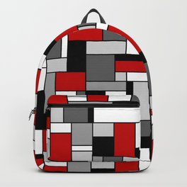Mid Century Modern Color Blocks in Red, Gray, Black and White Backpack