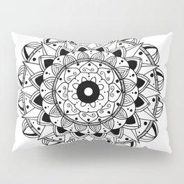 Delicate black mandala on white Pillow Sham