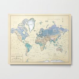 Antique Inspired World Map [shaded relief] Metal Print