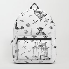 Pirate's Life Stick and Poke Illustration Backpack