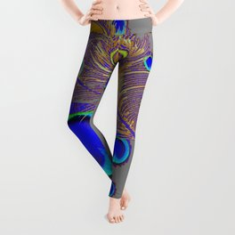 PEACOCK FEATHERS BLUE FEATHER EYES PATTERNS  ON GREY Leggings