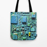 technology Tote Bags featuring Crowded Technology  by mark jones