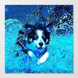 border collie jumping in water vector art crisp winter Canvas Print