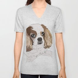 Blenheim cavalier king charles spaniel dog Unisex V-Neck