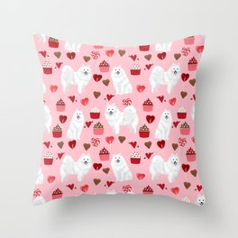Japanese Spitz cupcakes valentines day pure breed dog pattern pet gifts for dog lovers Throw Pillow