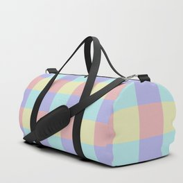 Plaid Blue Soft Yellow Rose Blush Lavender Cyan Tetradic Colour Blocks Duffle Bag