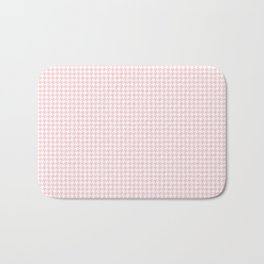 Pale Millennial Pink Pastel and White Houndstooth Check Bath Mat