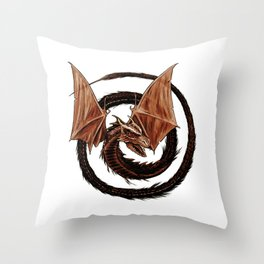 Spiral Dragon over Poenari Castle Throw Pillow