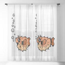 Puffer Bubbles   Animal Series   DopeyArt Sheer Curtain