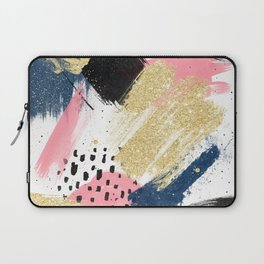 Modern pink gold navy geometric abstract brushstrokes pattern Laptop Sleeve