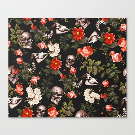 Floral and Skull Pattern Canvas Print