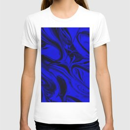 Black and Blue Swirl - Abstract, blue and black mixed paint pattern texture T-shirt