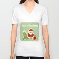 merry christmas V-neck T-shirts featuring Merry Christmas by Cs025