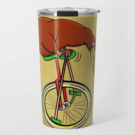 Kiwi Riding A Unicycle Travel Mug