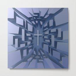 Abstract 3D Christian Cross Metal Print