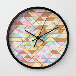 Triangle Pattern No. 25 Gold Pink Turqouise Wall Clock