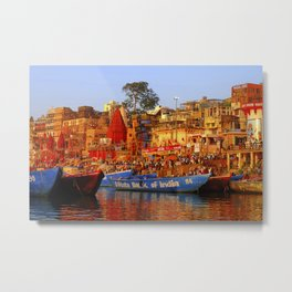 The River Ganges Bank of India Boat  Metal Print