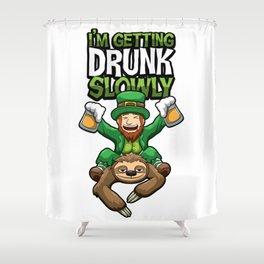 I'm Getting Drunk Slowly - Leprechaun Rides Sloth Shower Curtain