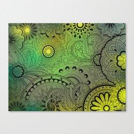 transparent black zen pattern green gradient Canvas Print
