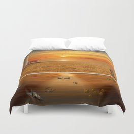 The view above and under water Duvet Cover
