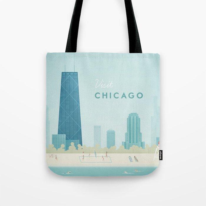 Vintage Chicago Travel Poster Tote Bag