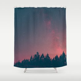 Pink And Black Milky Way Galaxy Forest Shower Curtain