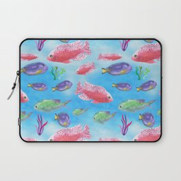 The deep sea - fishes in the sea - watercolor illustration Laptop Sleeve