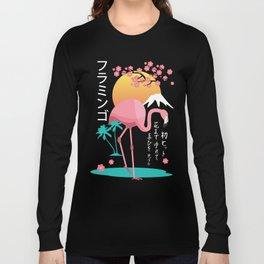 Flamingo Japanese Art Style Long Sleeve T-shirt