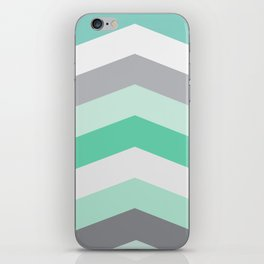 Mint and gray chevron iPhone Skin