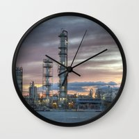 industrial Wall Clocks featuring Industrial 5  by Crystal Dodds-Donnelly