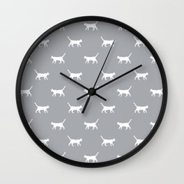 Cat silhouette cat lady cat lover grey and white minimal modern pet silhouette pattern Wall Clock