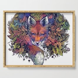 Hiding fox rainbow Serving Tray