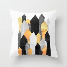 Black & Yellow Crystals Throw Pillow