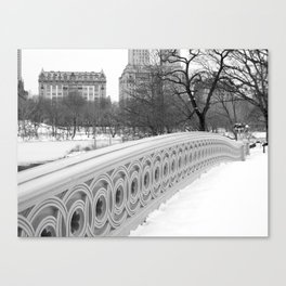 On Bow Bridge, B&W Photography Canvas Print