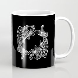 Black White Koi Minimalist Coffee Mug