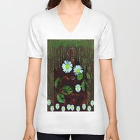 decorative V-neck T-shirts featuring Gargoyle decorative by Pepita Selles
