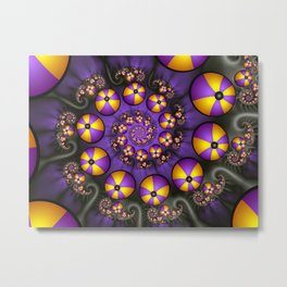 Playful Fractals Fun,  Modern Purple Yellow Spirals Metal Print