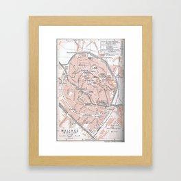 Vintage Map of Mechelen Belgium (1905) Framed Art Print