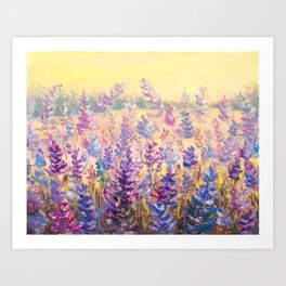 Glade of gentle flowers oil painting by Rybakow Art Print