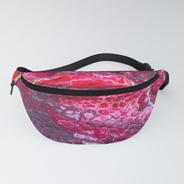 Deep Red Burgundy Acrylic Pour Abstract Fanny Pack